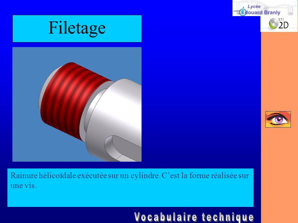 Filetage Rainure hélicoïdale exécutée sur un cylindre. C'est la forme réalisée sur une vis.