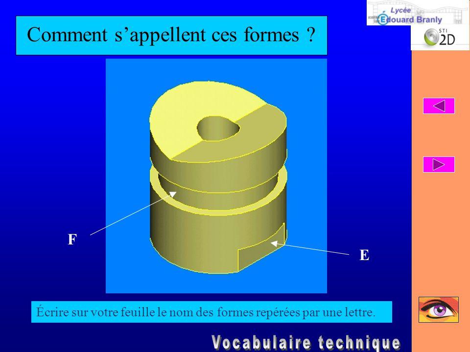 Comment s'appellent ces formes ? Écrire sur votre feuille le nom des formes repérées par une lettre. E F