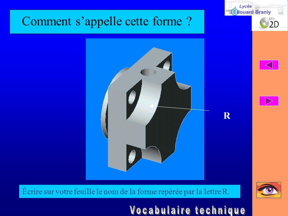 Comment s'appelle cette forme ? Écrire sur votre feuille le nom de la forme repérée par la lettre R. R