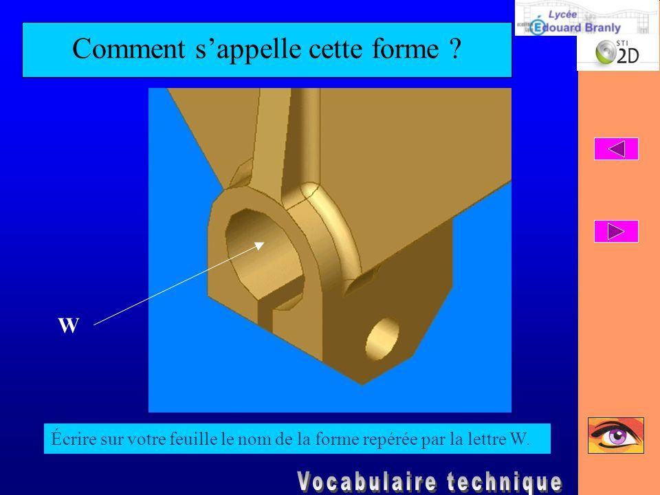 Comment s'appelle cette forme ? Écrire sur votre feuille le nom de la forme repérée par la lettre W. W