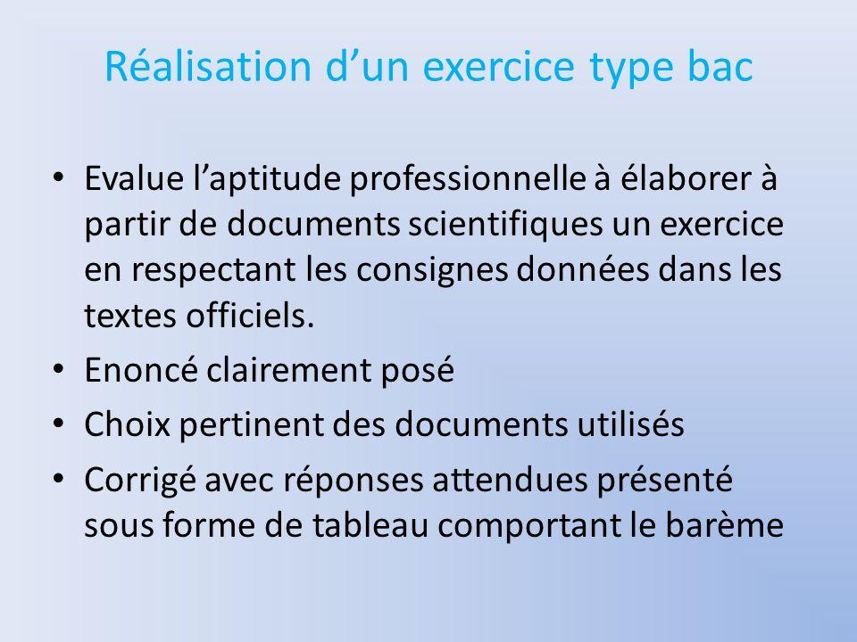 Réalisation d'un exercice type bac Evalue l'aptitude professionnelle à élaborer à partir de documents scientifiques un exercice en respectant les consignes données dans les textes officiels.