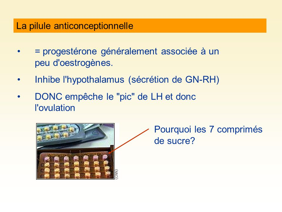 La pilule anticonceptionnelle = progestérone généralement associée à un peu d oestrogènes.