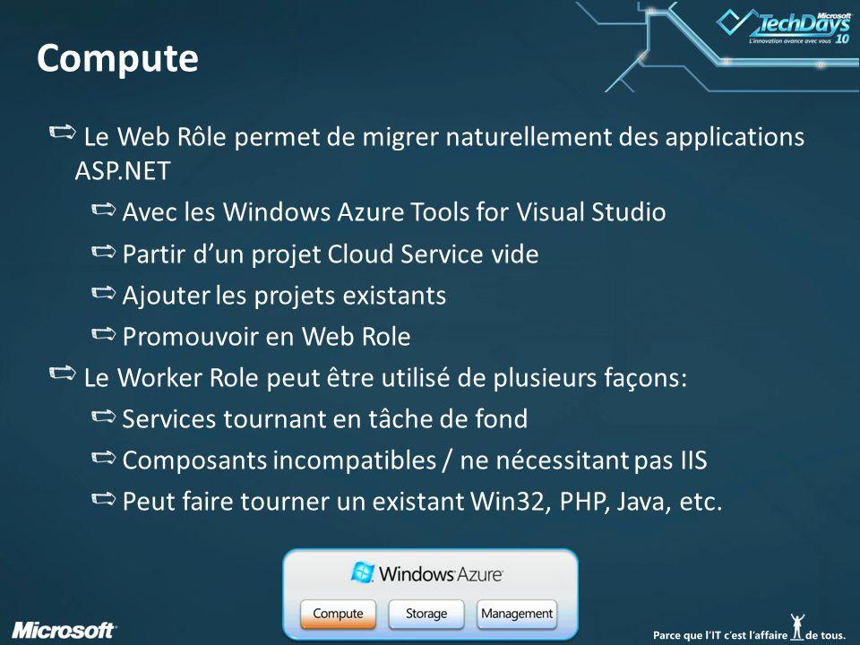 11 Compute Le Web Rôle permet de migrer naturellement des applications ASP.NET Avec les Windows Azure Tools for Visual Studio Partir d'un projet Cloud Service vide Ajouter les projets existants Promouvoir en Web Role Le Worker Role peut être utilisé de plusieurs façons: Services tournant en tâche de fond Composants incompatibles / ne nécessitant pas IIS Peut faire tourner un existant Win32, PHP, Java, etc.