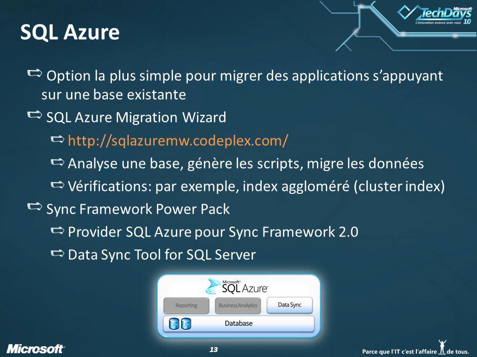 13 SQL Azure Option la plus simple pour migrer des applications s'appuyant sur une base existante SQL Azure Migration Wizard http://sqlazuremw.codeplex.com/ Analyse une base, génère les scripts, migre les données Vérifications: par exemple, index aggloméré (cluster index) Sync Framework Power Pack Provider SQL Azure pour Sync Framework 2.0 Data Sync Tool for SQL Server