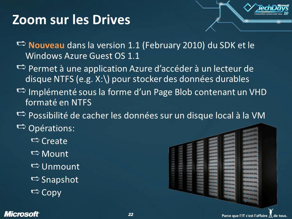 22 Zoom sur les Drives Nouveau dans la version 1.1 (February 2010) du SDK et le Windows Azure Guest OS 1.1 Permet à une application Azure d'accéder à un lecteur de disque NTFS (e.g.
