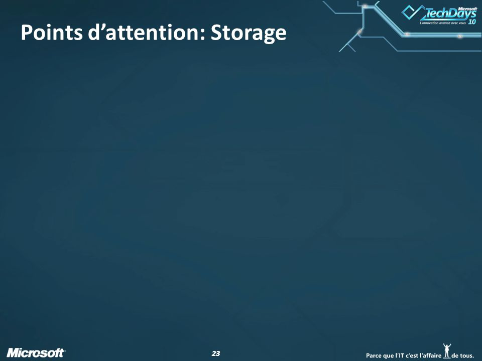 23 Points d'attention: Storage