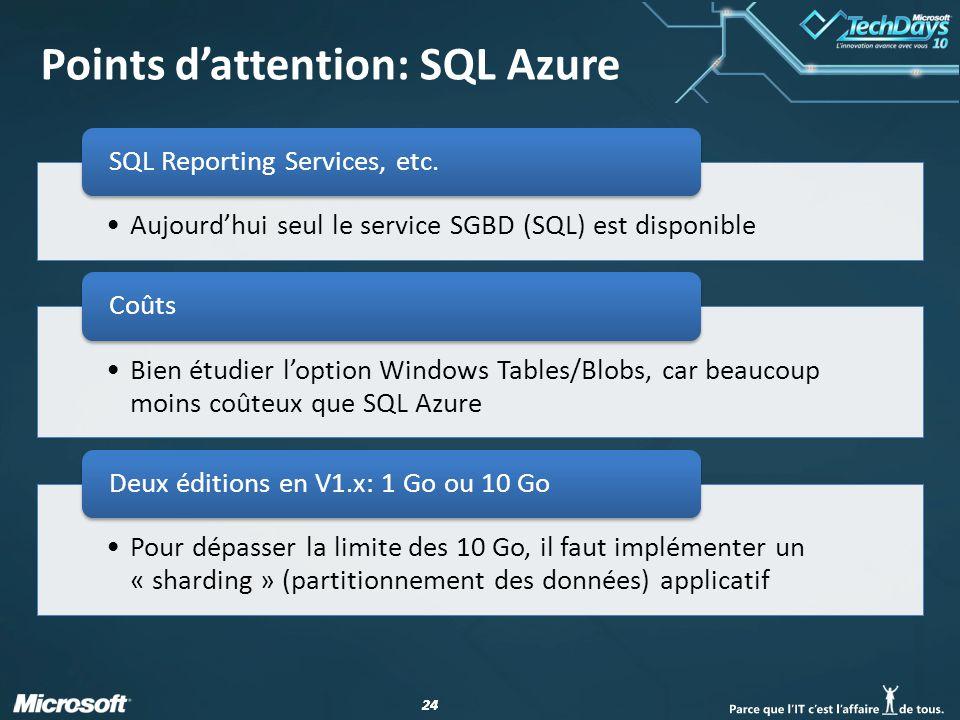 24 Points d'attention: SQL Azure
