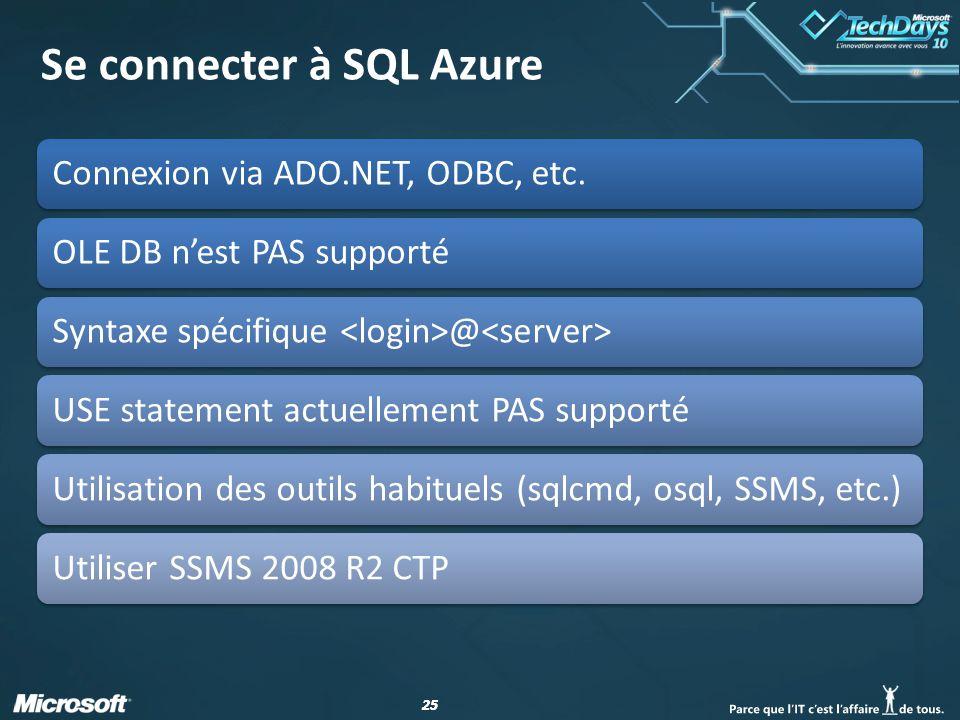 25 Se connecter à SQL Azure