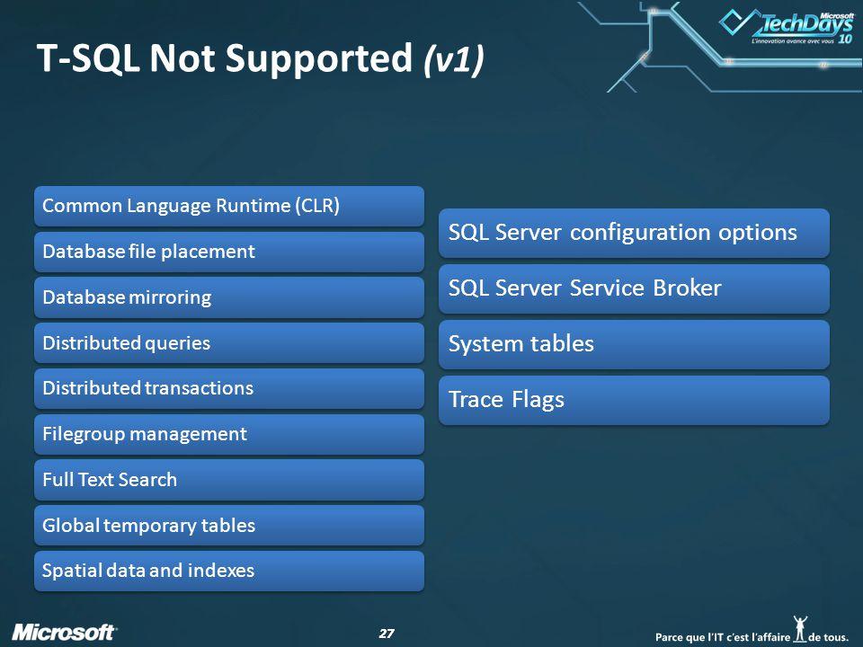 27 T-SQL Not Supported (v1)