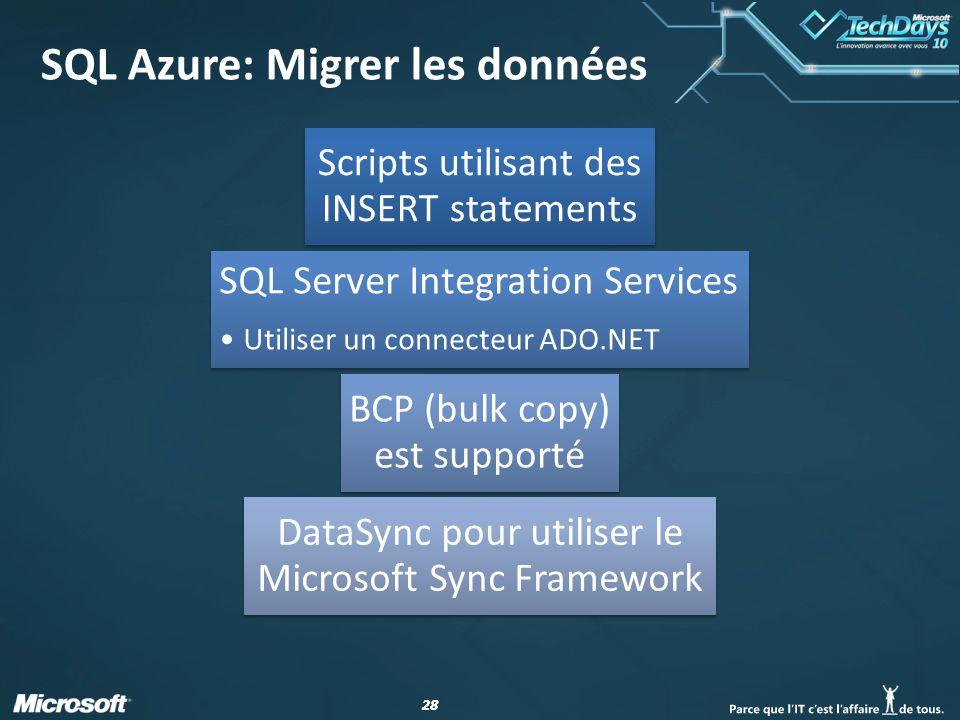 28 SQL Azure: Migrer les données