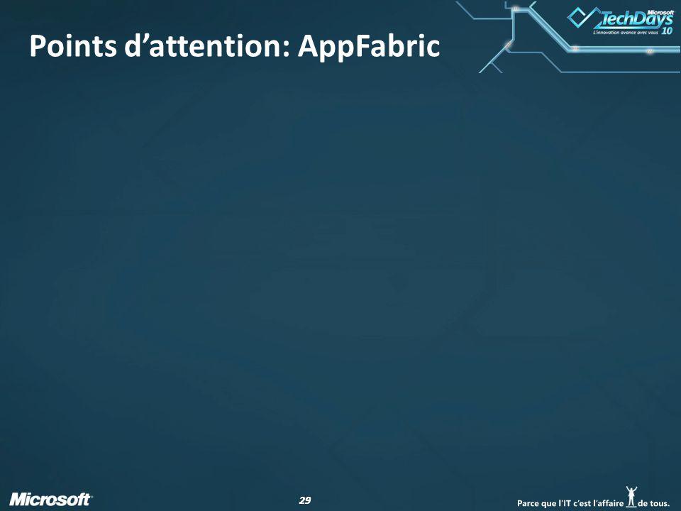 29 Points d'attention: AppFabric