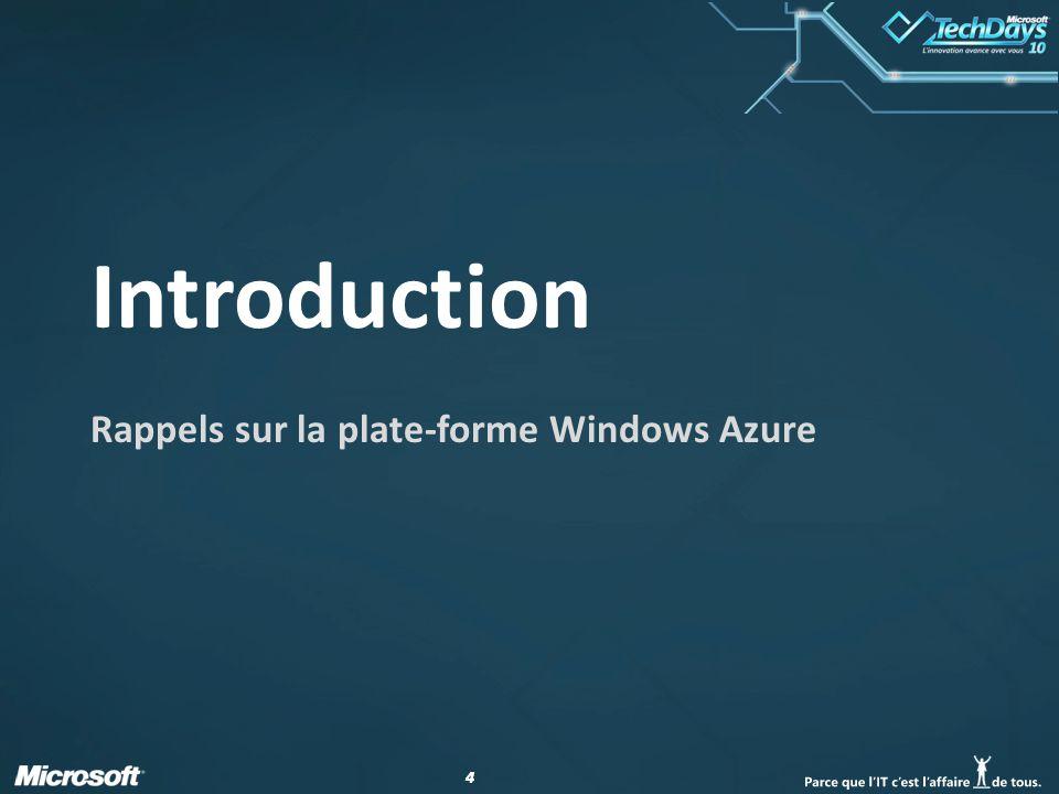 44 Introduction Rappels sur la plate-forme Windows Azure