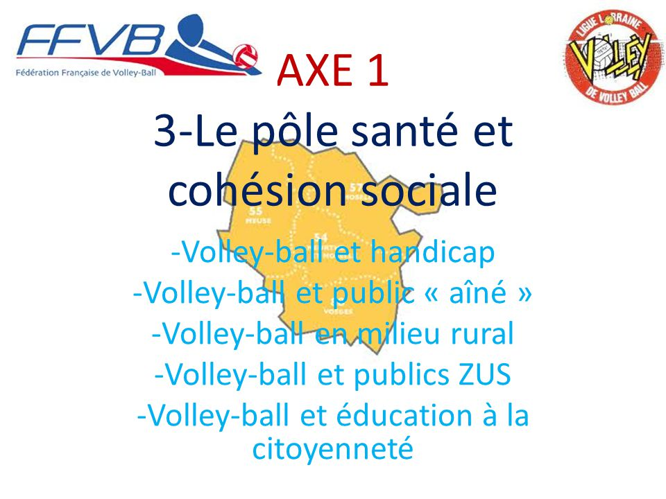 AXE 1 3-Le pôle santé et cohésion sociale -Volley-ball et handicap -Volley-ball et public « aîné » -Volley-ball en milieu rural -Volley-ball et publics ZUS -Volley-ball et éducation à la citoyenneté