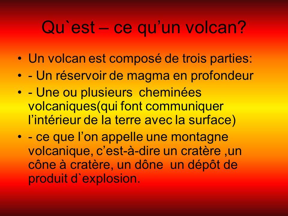 Qu`est – ce qu'un volcan? Un volcan est composé de trois parties: - Un réservoir de magma en profondeur - Une ou plusieurs cheminées volcaniques(qui f