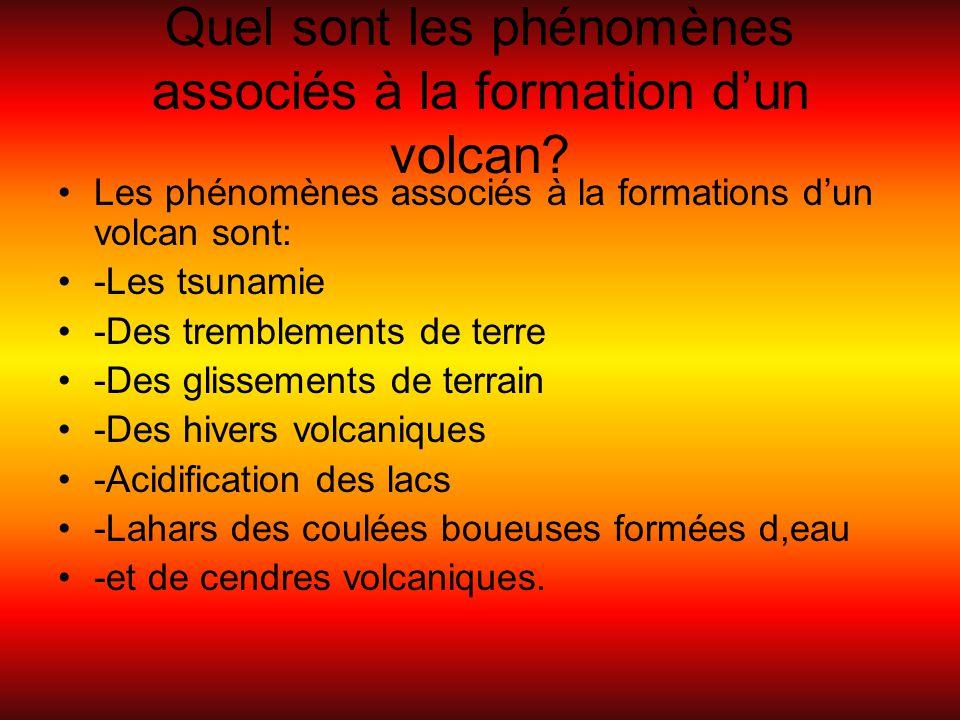 Quel sont les phénomènes associés à la formation d'un volcan? Les phénomènes associés à la formations d'un volcan sont: -Les tsunamie -Des tremblement