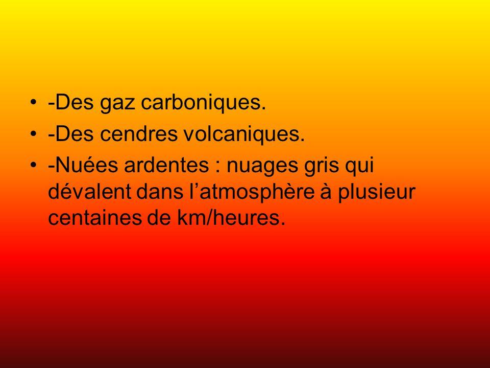 -Des gaz carboniques. -Des cendres volcaniques. -Nuées ardentes : nuages gris qui dévalent dans l'atmosphère à plusieur centaines de km/heures.