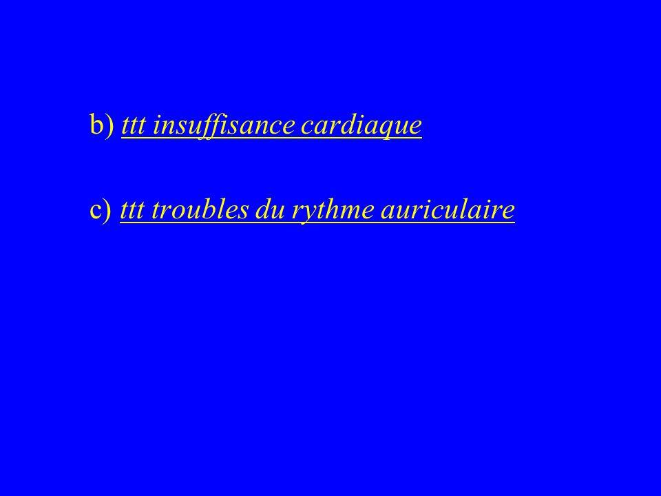b) ttt insuffisance cardiaque c) ttt troubles du rythme auriculaire
