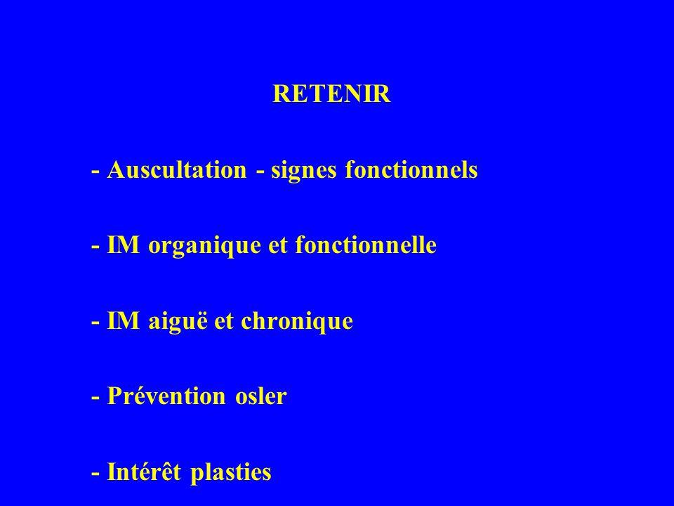 RETENIR - Auscultation - signes fonctionnels - IM organique et fonctionnelle - IM aiguë et chronique - Prévention osler - Intérêt plasties