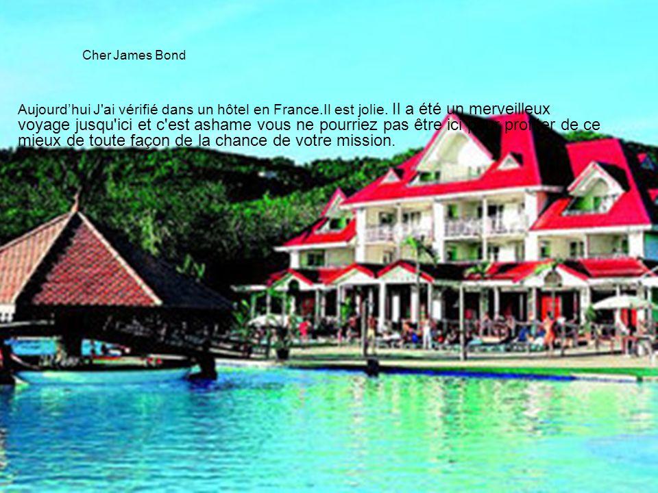 Cher James Bond Aujourd'hui J'ai vérifié dans un hôtel en France.Il est jolie. Il a été un merveilleux voyage jusqu'ici et c'est ashame vous ne pourri