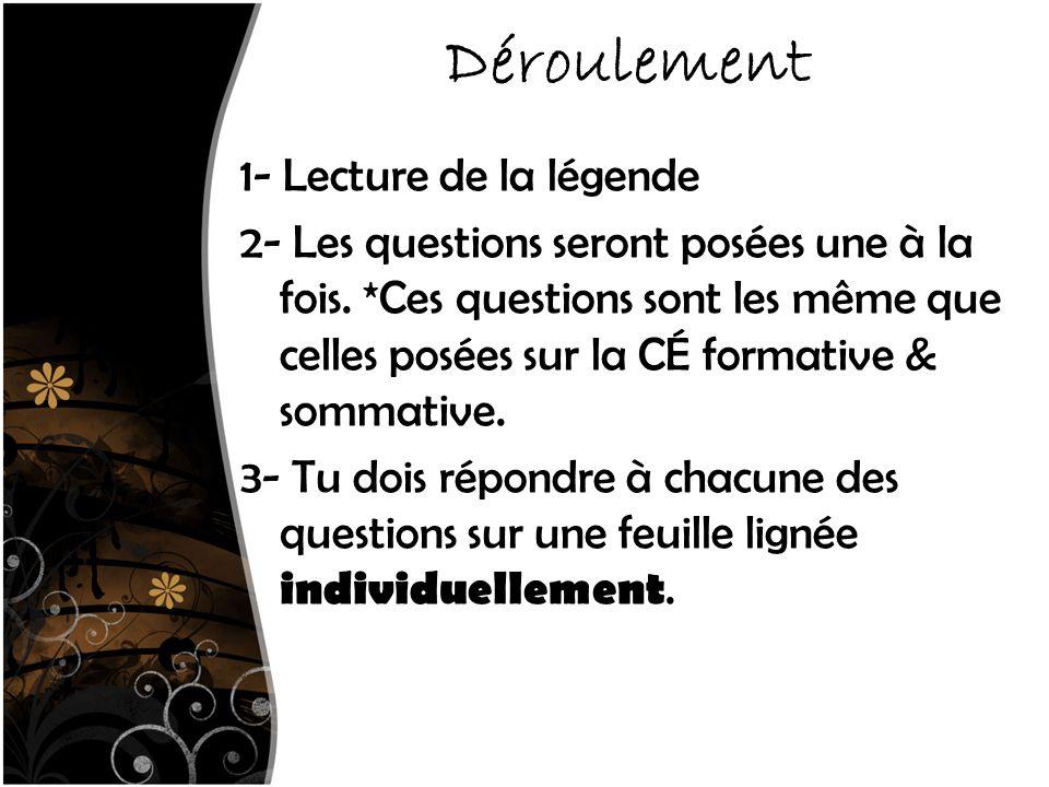 Déroulement 1- Lecture de la légende 2- Les questions seront posées une à la fois.