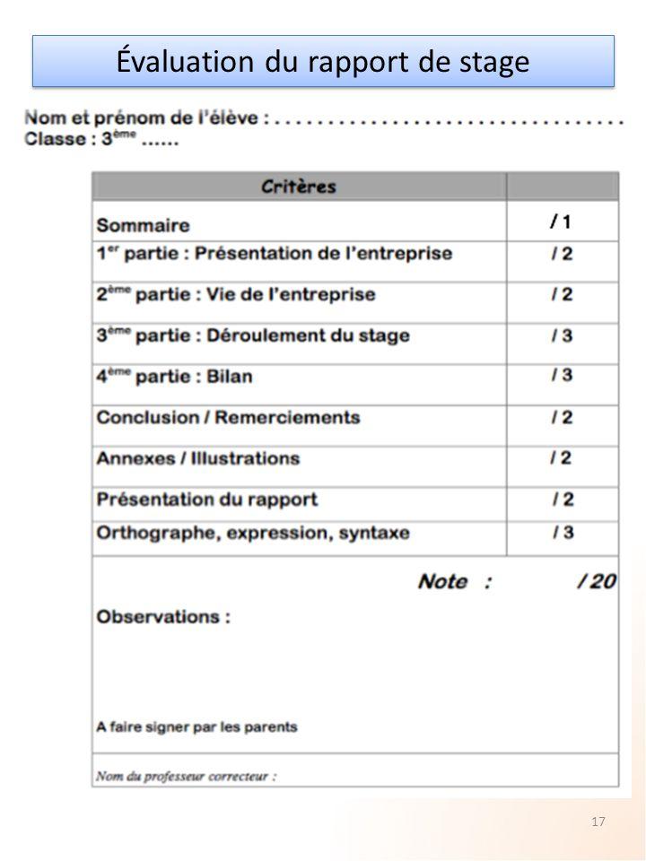 Évaluation du rapport de stage 17