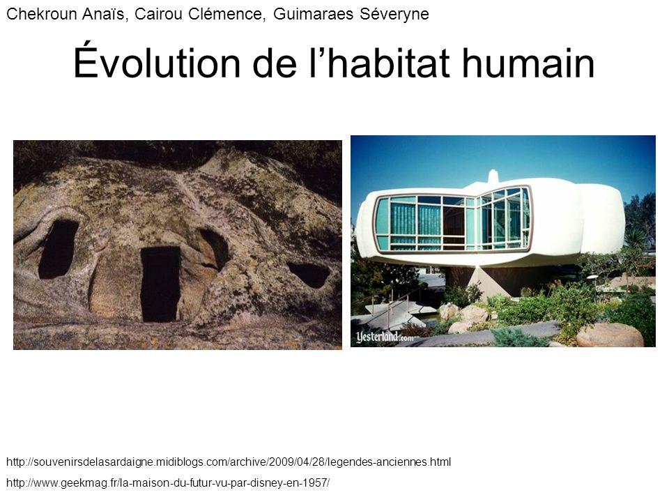 Évolution de l'habitat humain Chekroun Anaïs, Cairou Clémence, Guimaraes Séveryne http://souvenirsdelasardaigne.midiblogs.com/archive/2009/04/28/legendes-anciennes.html http://www.geekmag.fr/la-maison-du-futur-vu-par-disney-en-1957/