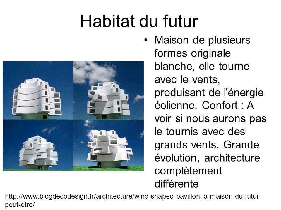 Habitat du futur Maison de plusieurs formes originale blanche, elle tourne avec le vents, produisant de l énergie éolienne.