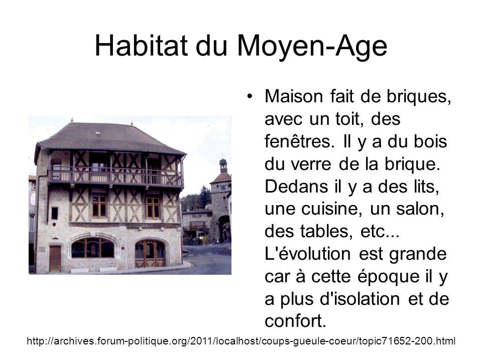 Habitat du Moyen-Age Maison fait de briques, avec un toit, des fenêtres.