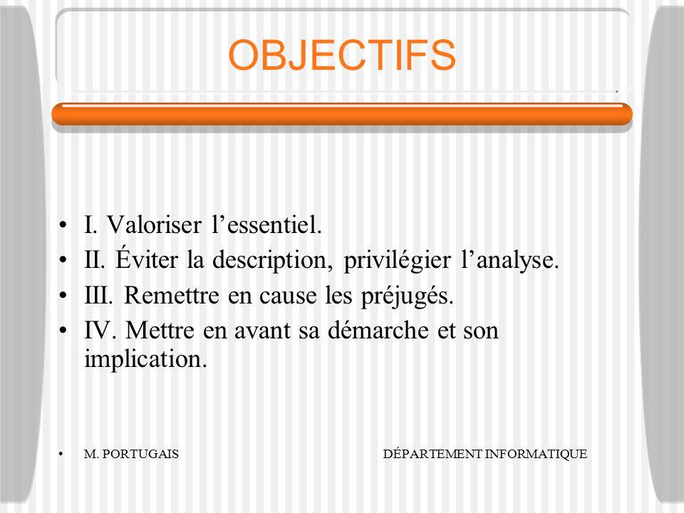 OBJECTIFS I.Valoriser l'essentiel. II. Éviter la description, privilégier l'analyse.