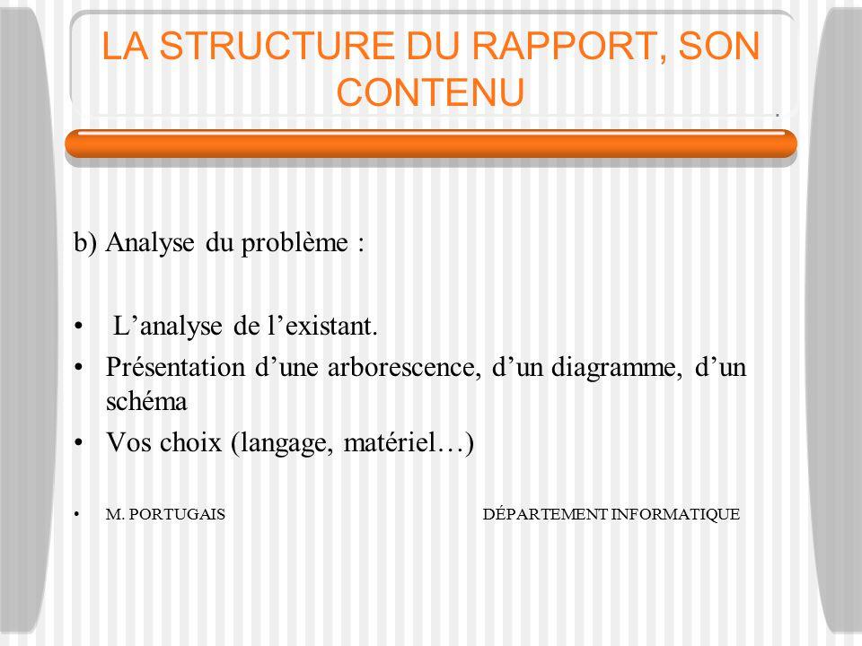 LA STRUCTURE DU RAPPORT, SON CONTENU b) Analyse du problème : L'analyse de l'existant.