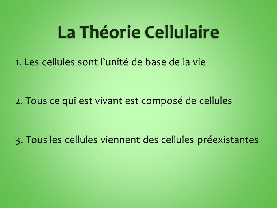 1.Les cellules sont l`unité de base de la vie 2. Tous ce qui est vivant est composé de cellules 3.