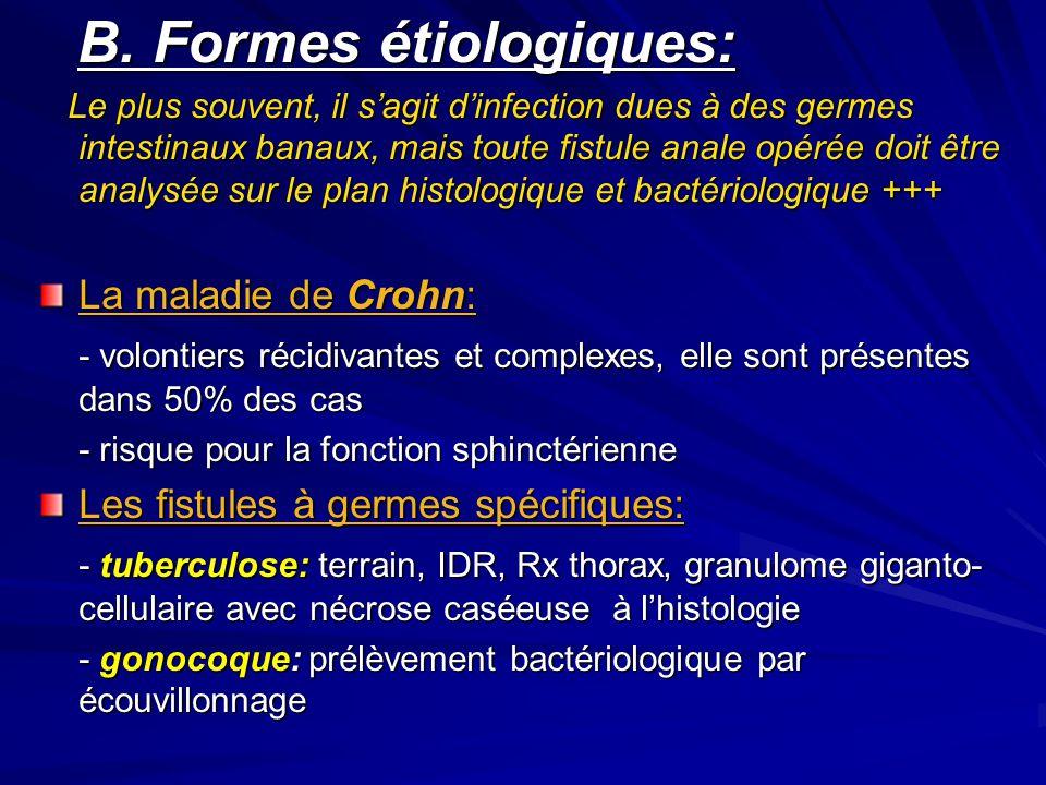 B. Formes étiologiques: B. Formes étiologiques: Le plus souvent, il s'agit d'infection dues à des germes intestinaux banaux, mais toute fistule anale