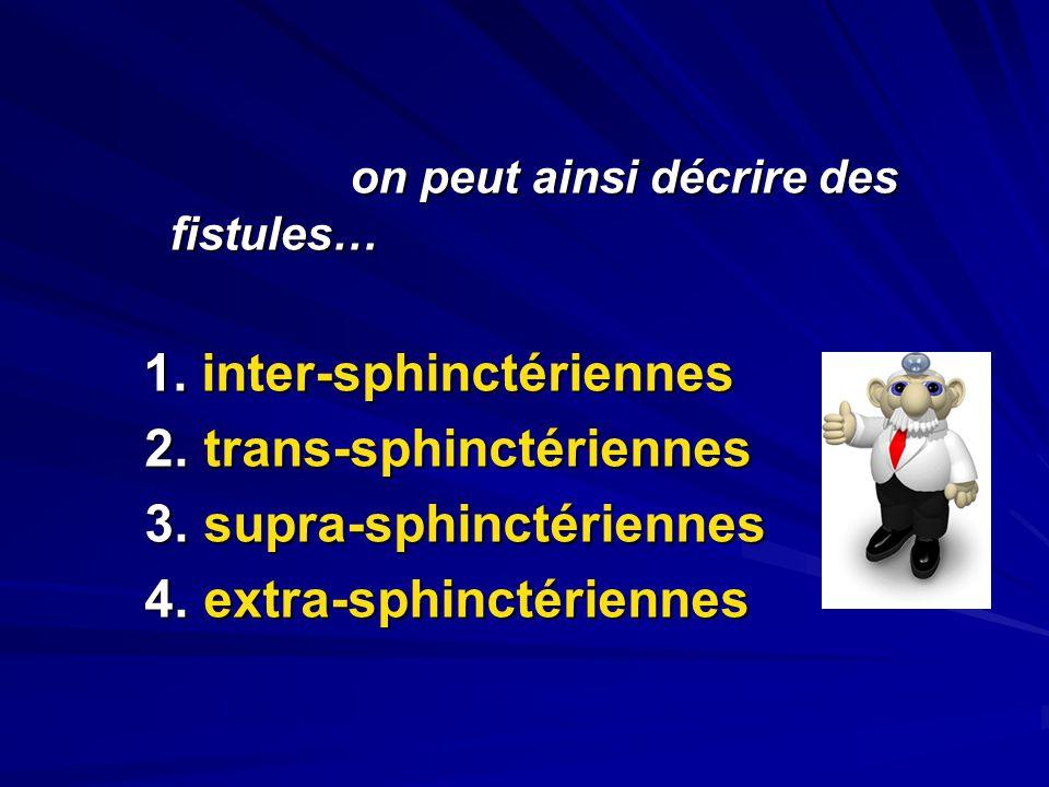 on peut ainsi décrire des fistules… on peut ainsi décrire des fistules… 1. inter-sphinctériennes 1. inter-sphinctériennes 2. trans-sphinctériennes 2.