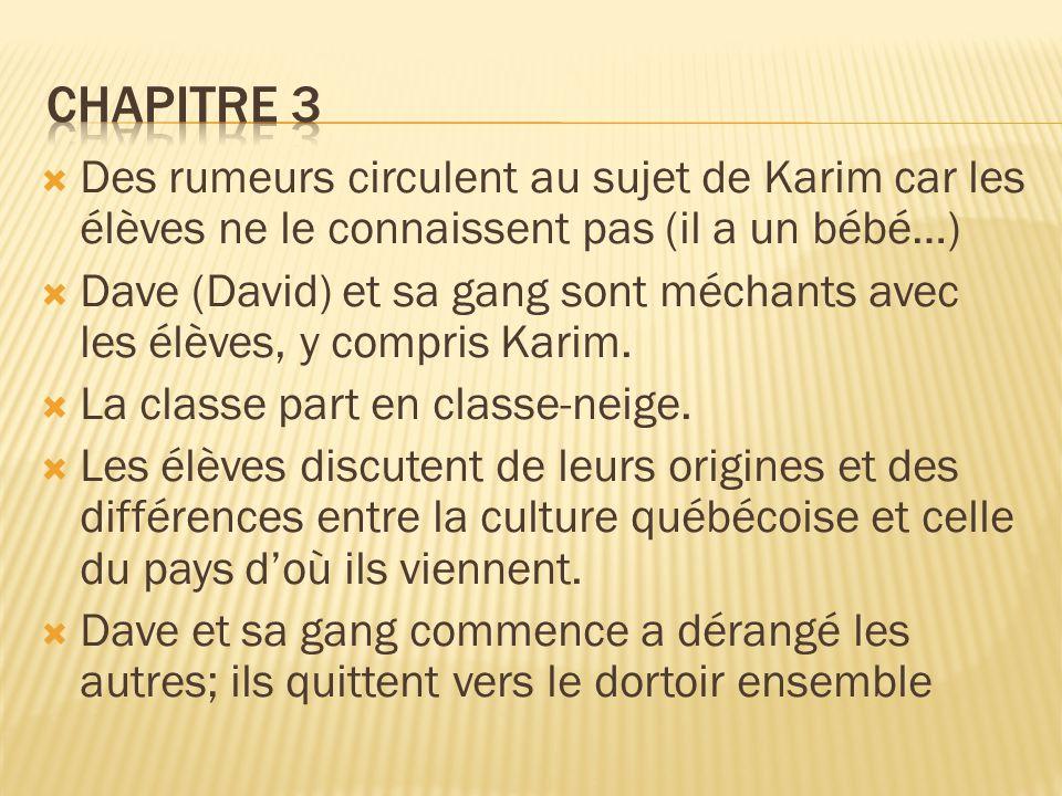  Des rumeurs circulent au sujet de Karim car les élèves ne le connaissent pas (il a un bébé…)  Dave (David) et sa gang sont méchants avec les élèves, y compris Karim.