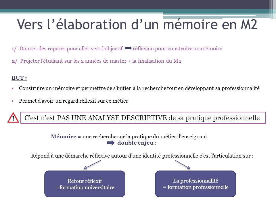 Vers l'élaboration d'un mémoire en M2 1/ Donner des repères pour aller vers l'objectif réflexion pour construire un mémoire 2/ Projeter l'étudiant sur les 2 années de master + la finalisation du M2 BUT : Construire un mémoire et permettre de s'initier à la recherche tout en développant sa professionnalité Permet d'avoir un regard réflexif sur ce métier Retour réflexif = formation universitaire La professionnalité = formation professionnelle Mémoire = une recherche sur la pratique du métier d'enseignant double enjeu : Répond à une démarche réflexive autour d'une identité professionnelle c'est l'articulation sur : C'est n'est PAS UNE ANALYSE DESCRIPTIVE de sa pratique professionnelle