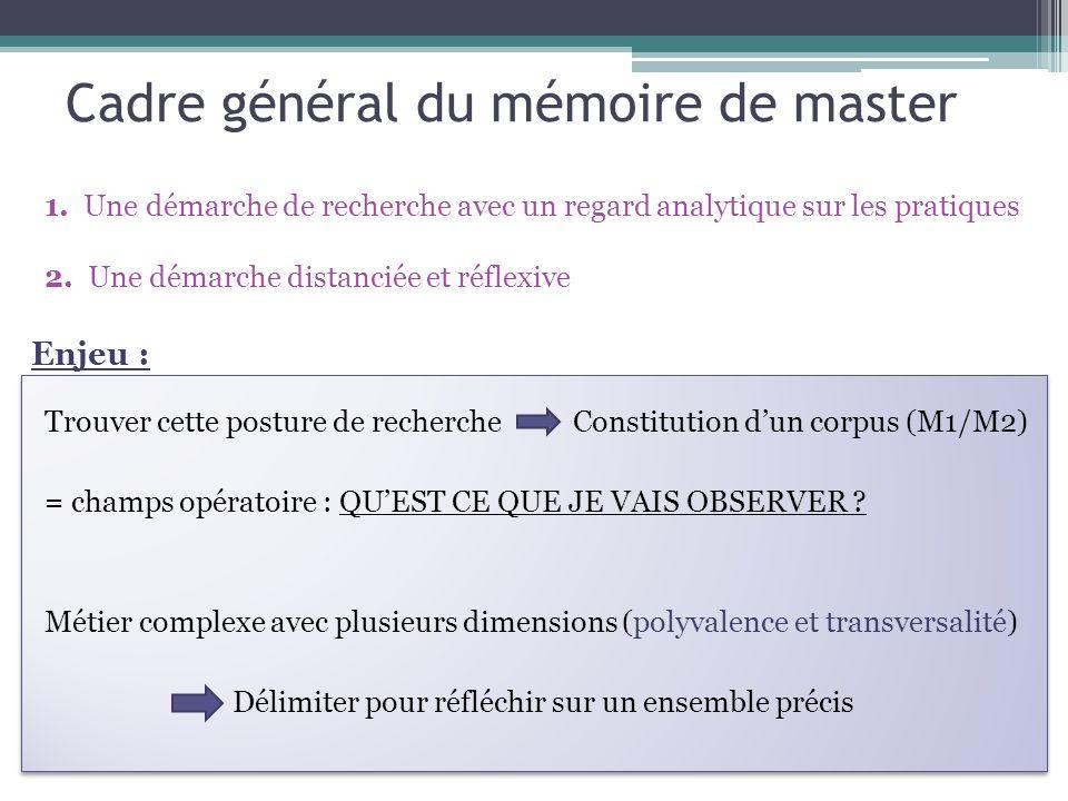 Cadre général du mémoire de master Trouver cette posture de recherche Constitution d'un corpus (M1/M2) = champs opératoire : QU'EST CE QUE JE VAIS OBSERVER .
