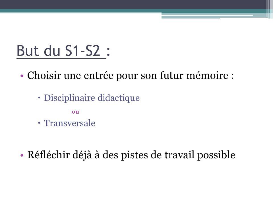 But du S1-S2 : Choisir une entrée pour son futur mémoire :  Disciplinaire didactique ou  Transversale Réfléchir déjà à des pistes de travail possible