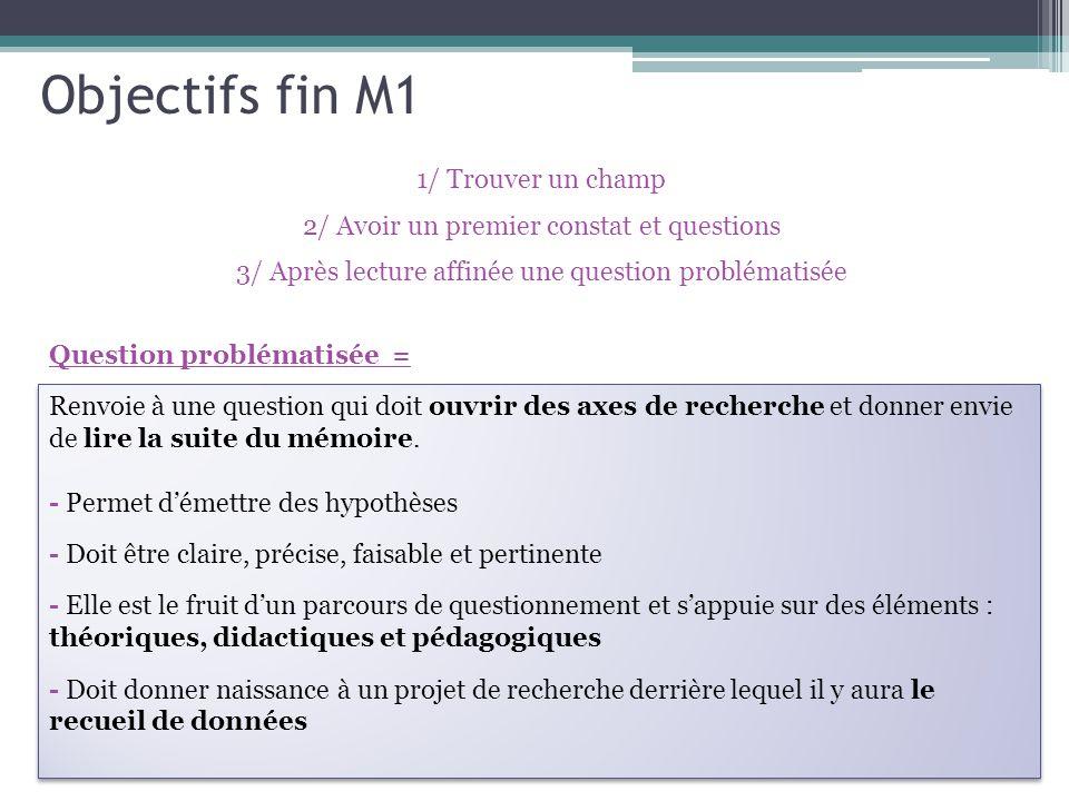 Question problématisée = Objectifs fin M1 1/ Trouver un champ 2/ Avoir un premier constat et questions 3/ Après lecture affinée une question problématisée Renvoie à une question qui doit ouvrir des axes de recherche et donner envie de lire la suite du mémoire.