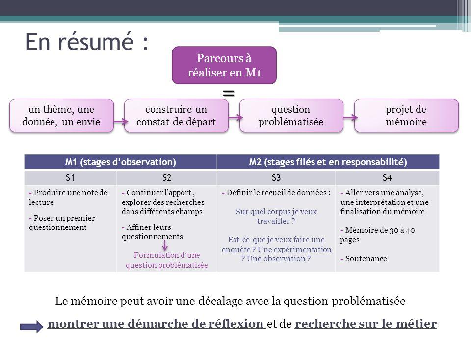 M1 (stages d'observation)M2 (stages filés et en responsabilité) S1S2S3S4 - Produire une note de lecture - Poser un premier questionnement - Continuer l'apport, explorer des recherches dans différents champs - Affiner leurs questionnements Formulation d'une question problématisée - Définir le recueil de données : Sur quel corpus je veux travailler .