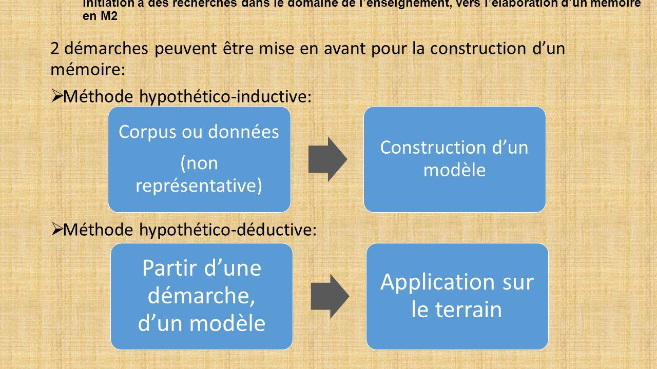 Initiation à des recherches dans le domaine de l'enseignement, vers l'élaboration d'un mémoire en M2 2 démarches peuvent être mise en avant pour la construction d'un mémoire:  Méthode hypothético-inductive:  Méthode hypothético-déductive: Corpus ou données (non représentative) Construction d'un modèle Partir d'une démarche, d'un modèle Application sur le terrain