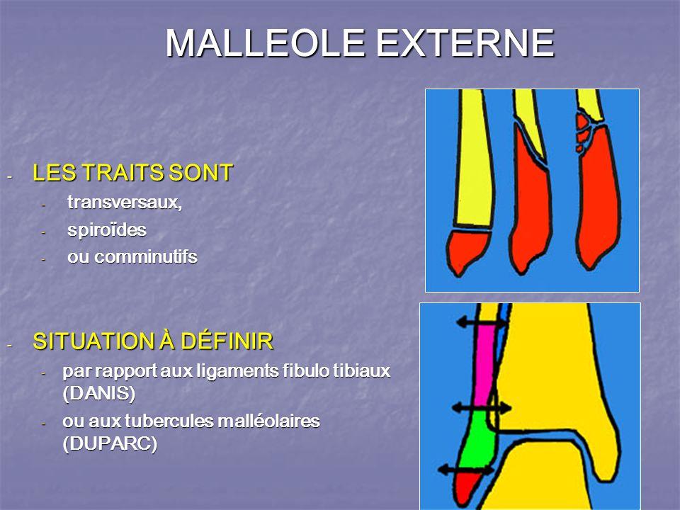 MALLEOLE EXTERNE - LES TRAITS SONT - transversaux, - spiroïdes - ou comminutifs - SITUATION À DÉFINIR - par rapport aux ligaments fibulo tibiaux (DANIS) - ou aux tubercules malléolaires (DUPARC)
