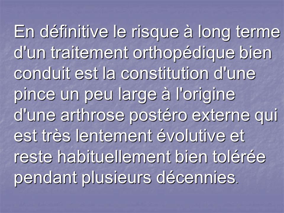 En définitive le risque à long terme d un traitement orthopédique bien conduit est la constitution d une pince un peu large à l origine d une arthrose postéro externe qui est très lentement évolutive et reste habituellement bien tolérée pendant plusieurs décennies.