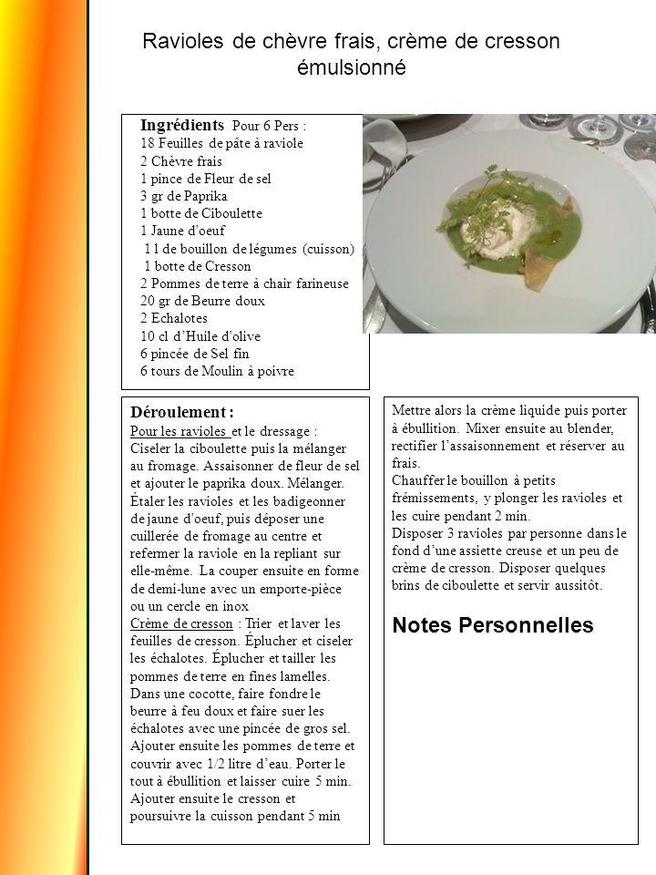 Ingrédients Pour 6 Pers : 18 Feuilles de pâte à raviole 2 Chèvre frais 1 pince de Fleur de sel 3 gr de Paprika 1 botte de Ciboulette 1 Jaune d oeuf 1 l de bouillon de légumes (cuisson) 1 botte de Cresson 2 Pommes de terre à chair farineuse 20 gr de Beurre doux 2 Echalotes 10 cl d'Huile d olive 6 pincée de Sel fin 6 tours de Moulin à poivre Déroulement : Pour les ravioles et le dressage : Ciseler la ciboulette puis la mélanger au fromage.