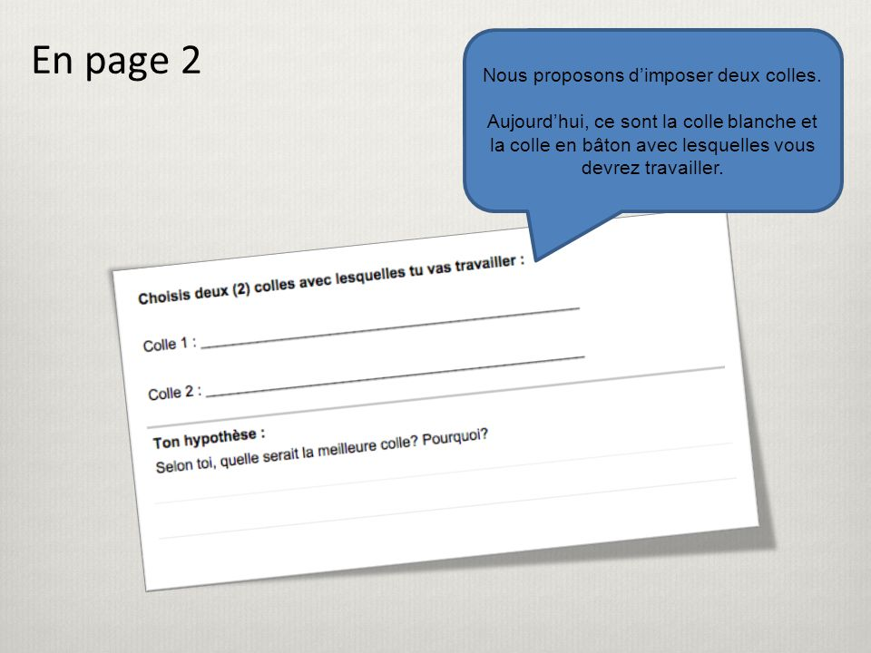 En page 2 Nous proposons d'imposer deux colles.