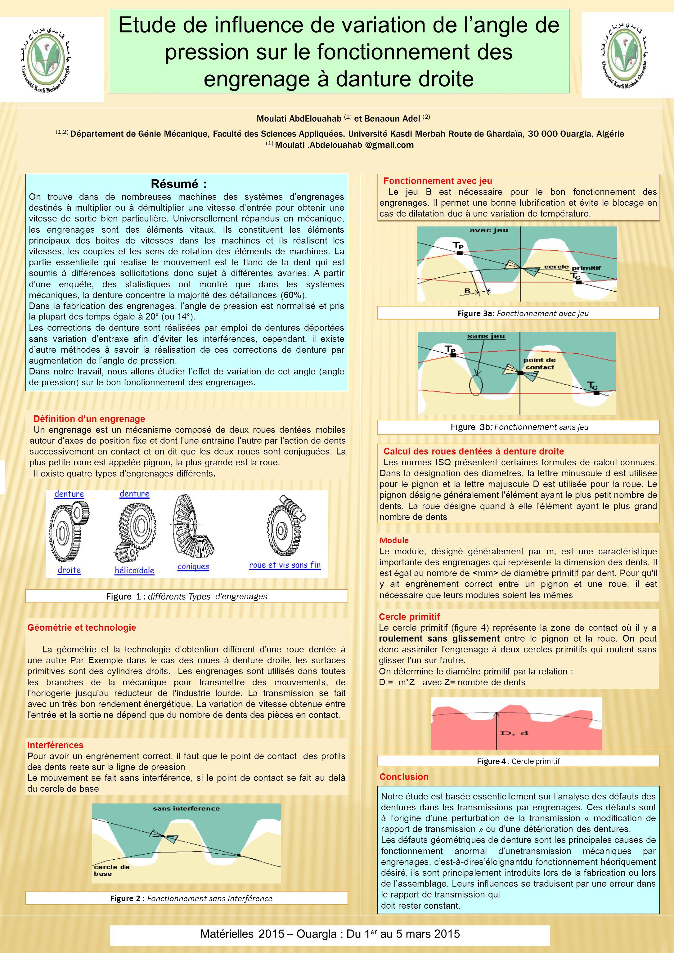 Etude de influence de variation de l'angle de pression sur le fonctionnement des engrenage à danture droite Moulati AbdElouahab (1) et Benaoun Adel (2) (1,2) Département de Génie Mécanique, Faculté des Sciences Appliquées, Université Kasdi Merbah Route de Ghardaïa, 30 000 Ouargla, Algérie (1) Moulati.Abdelouahab @gmail.com 1.