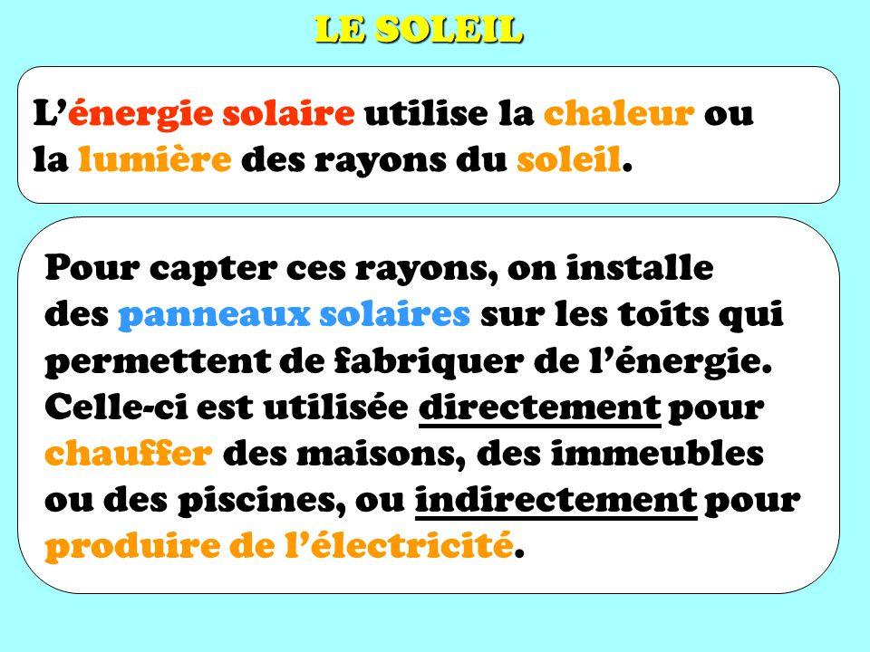 LE SOLEIL L'énergie solaire utilise la chaleur ou la lumière des rayons du soleil.