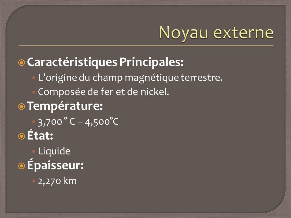  Caractéristiques Principales: L'origine du champ magnétique terrestre. Composée de fer et de nickel.  Température: 3,700 ° C – 4,500°C  État: Liqu