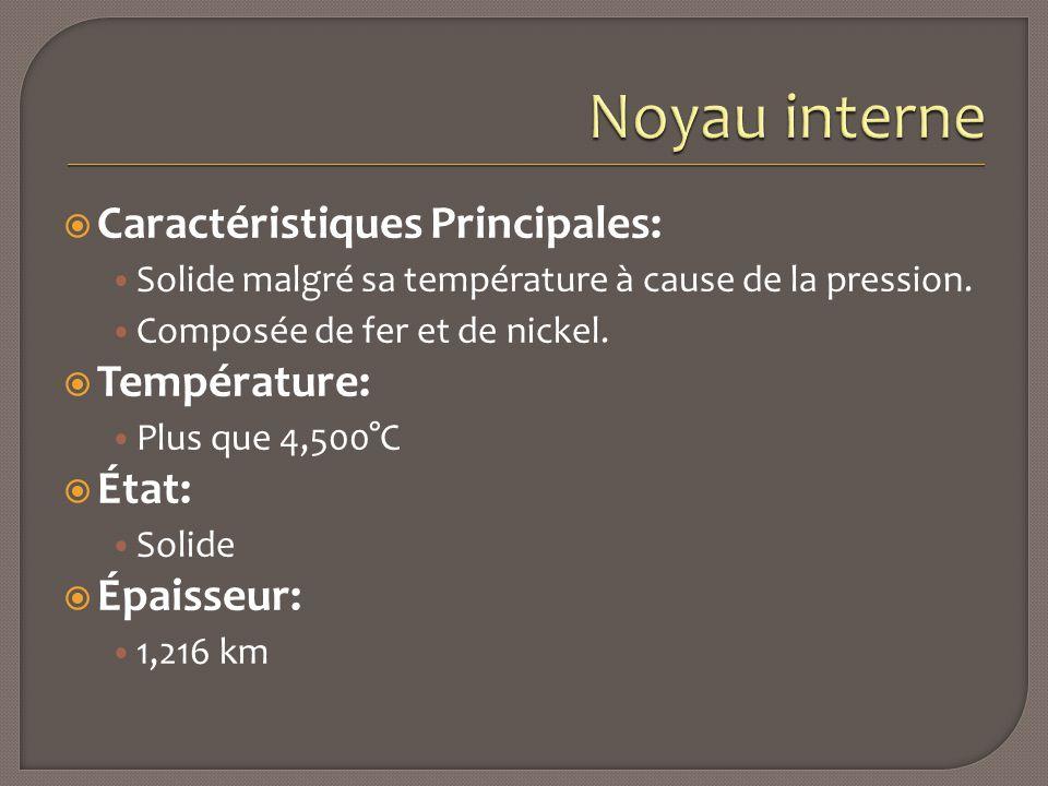  Caractéristiques Principales: Solide malgré sa température à cause de la pression. Composée de fer et de nickel.  Température: Plus que 4,500°C  É