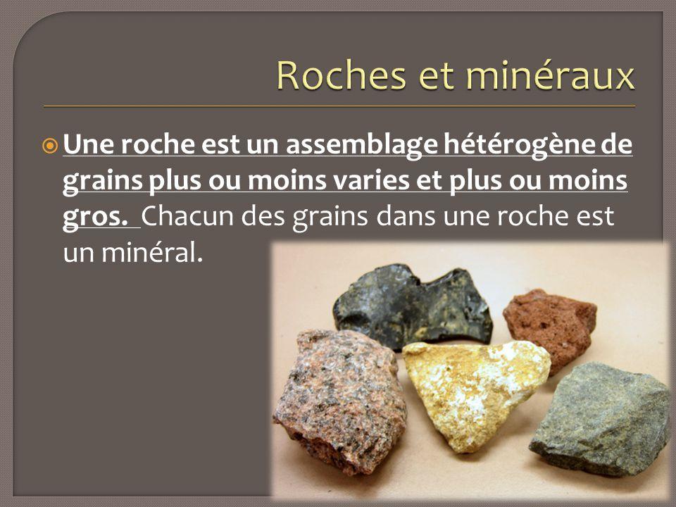  Une roche est un assemblage hétérogène de grains plus ou moins varies et plus ou moins gros. Chacun des grains dans une roche est un minéral.