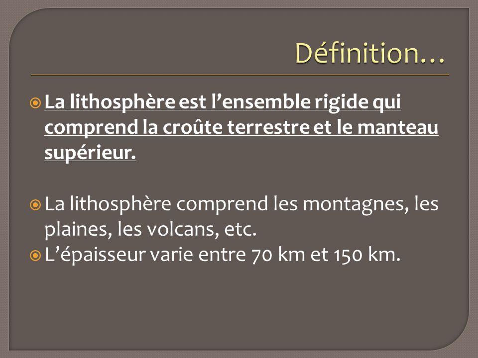  La lithosphère est l'ensemble rigide qui comprend la croûte terrestre et le manteau supérieur.  La lithosphère comprend les montagnes, les plaines,
